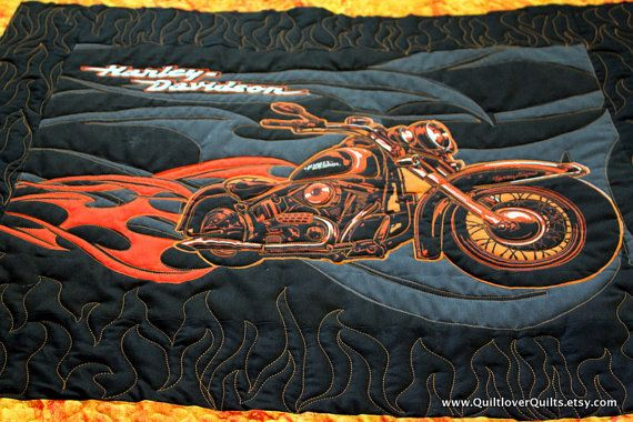 Motorcycle Patchwork Homemade Quilt Black And By