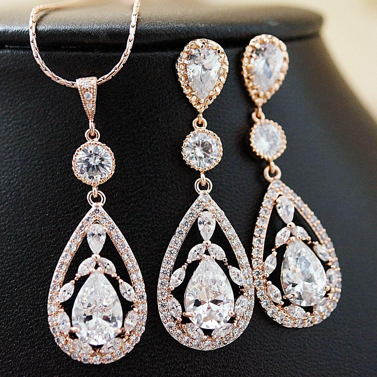Luxury cubic zirconia floral bridal jewelry set bridal jewelry