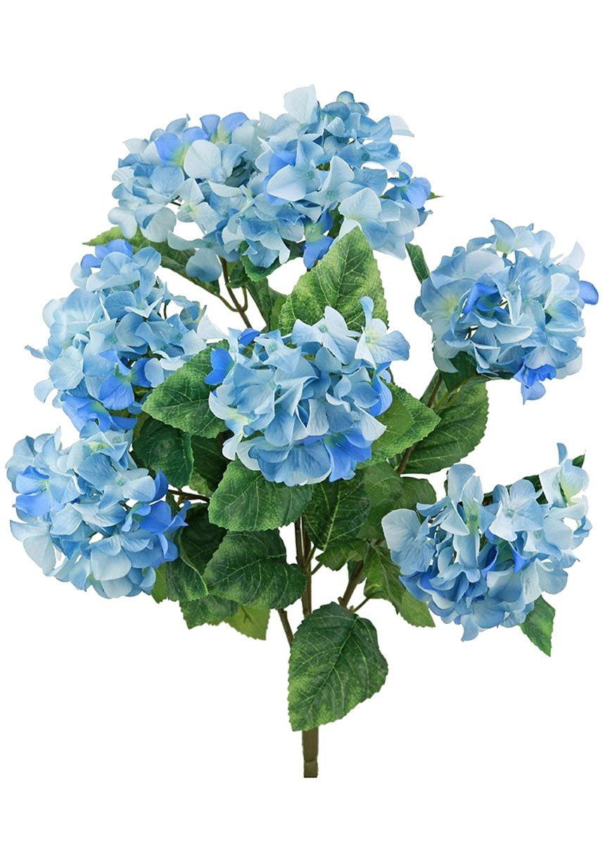 Hydrangea Silk Flowers Bush In Blue 25 Tall Artificial Silk Flowers Flower Bouquet Wedding Blue Wedding Flowers