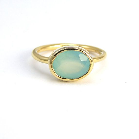 Seafoam green and gold ring