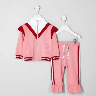 on feet at ever popular super quality River Island Mini girls RI pink frill tracksuit outfit ...