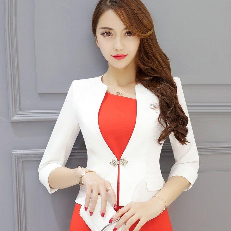 Women short jacket and blazers Spring Cotton blended Slim ...
