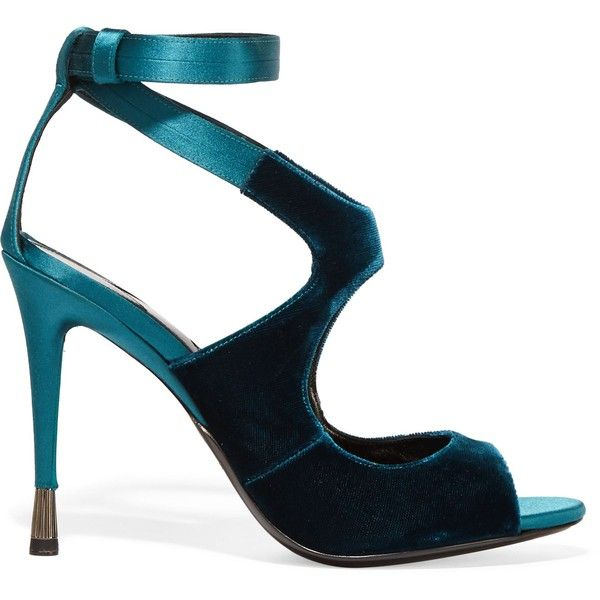 Tom Ford Woman Velvet And Satin Sandals Petrol Size 37 vzusQCokI