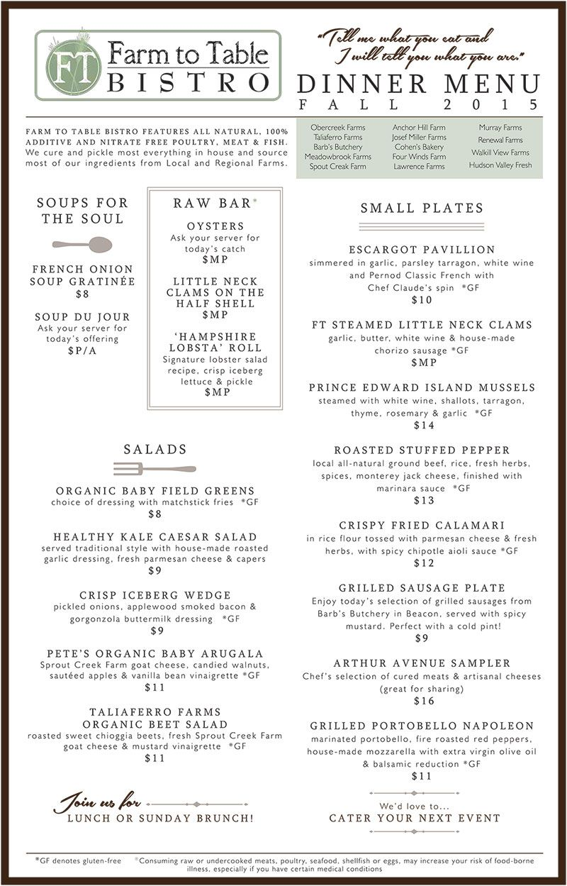 Dining Menu Farm To Table Bistro Dinner Menu Front Side Menu Designs In