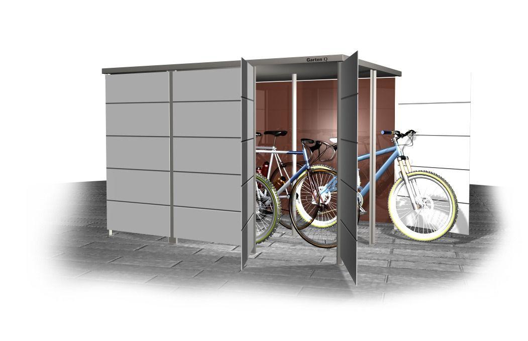 Unterstand Einhausung Fur Fahrrader Und Gartenmobel Garten Q Gmbh Fahrradbox Schliessfacher Unterstand
