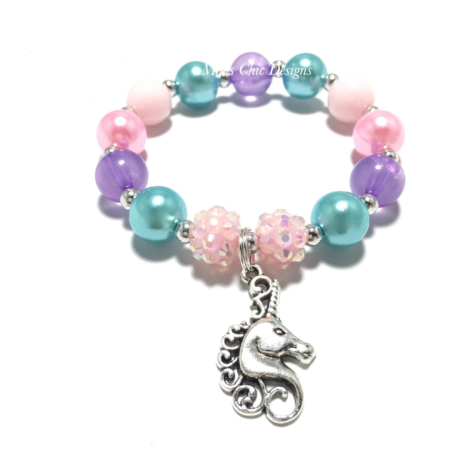 Toddler or girls small beaded silver unicorn charm bracelet pink