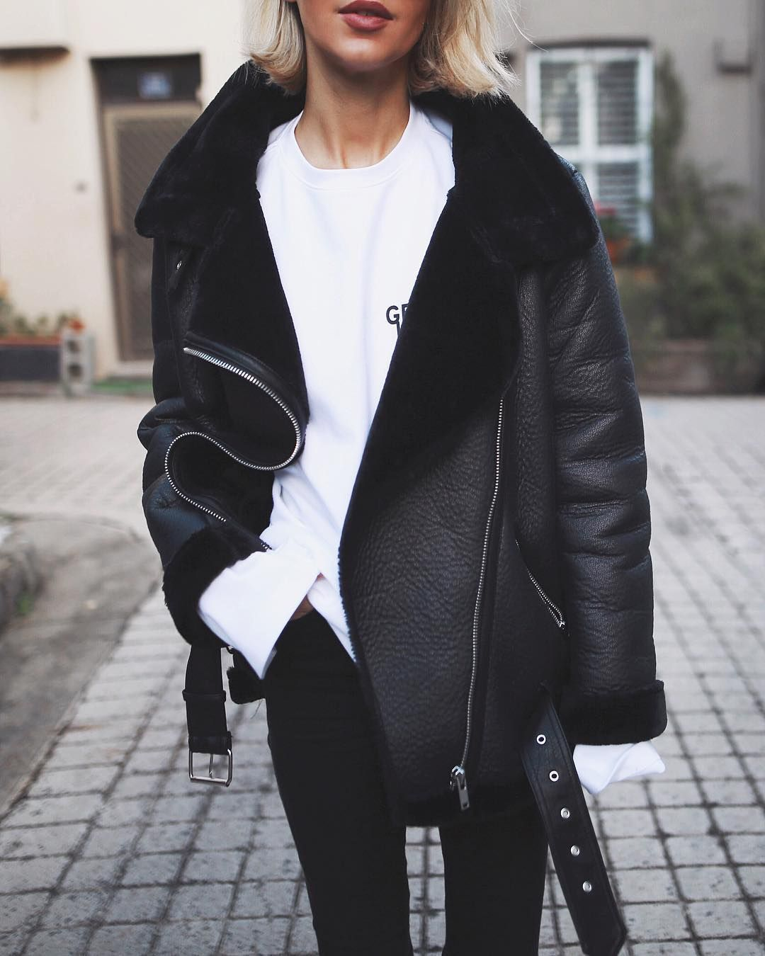 Petra On Instagram White Jumper By Ader Error Jeans Are Topshop Biker Jackets Biker Jackets Leather Bi Jacket Outfit Women Fashion Shearling Jacket Outfit [ 1350 x 1080 Pixel ]