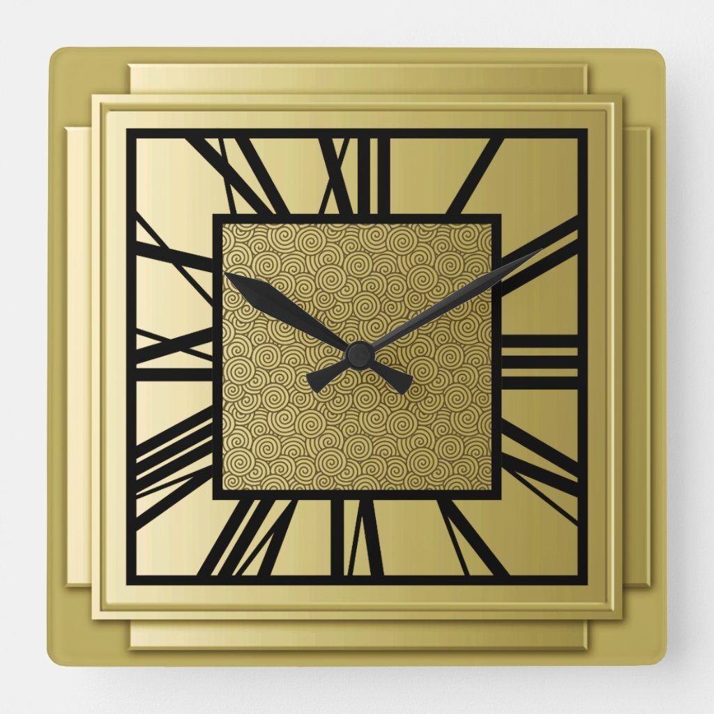 Art Deco Brushed Gold Square Wall Clock Zazzle Com Art Deco Clock Square Wall Clock Clock Wall Decor
