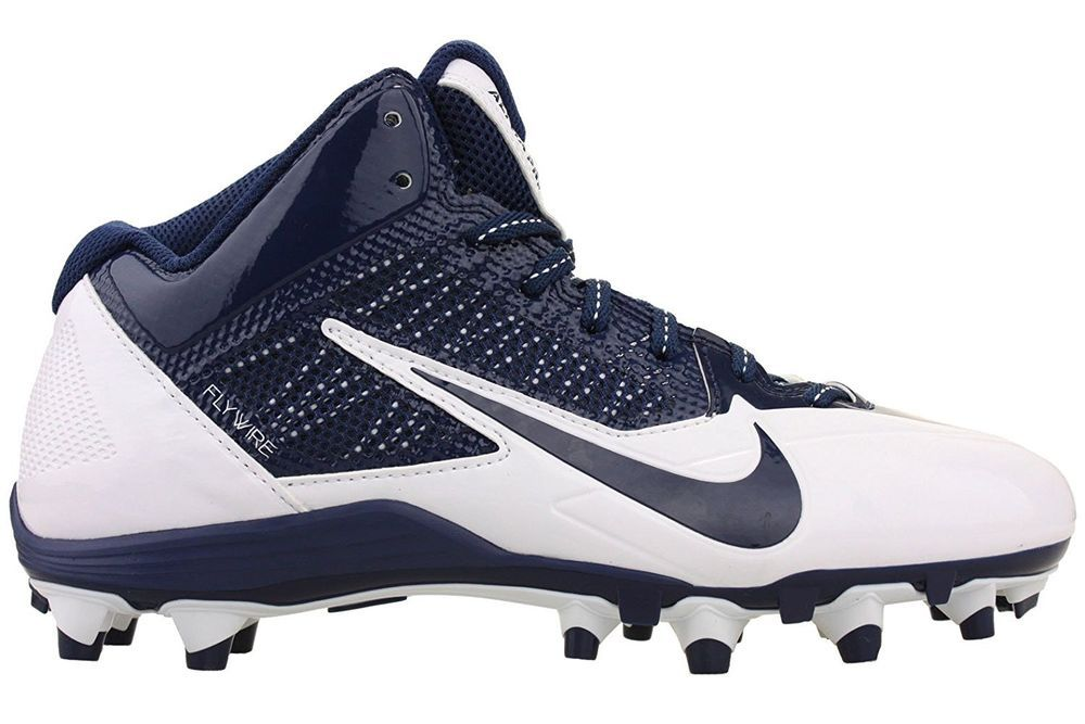 Nike Men\u0027s Alpha Pro 3/4 TD Football Cleats 579636 140 White/Navy Blue Size  15