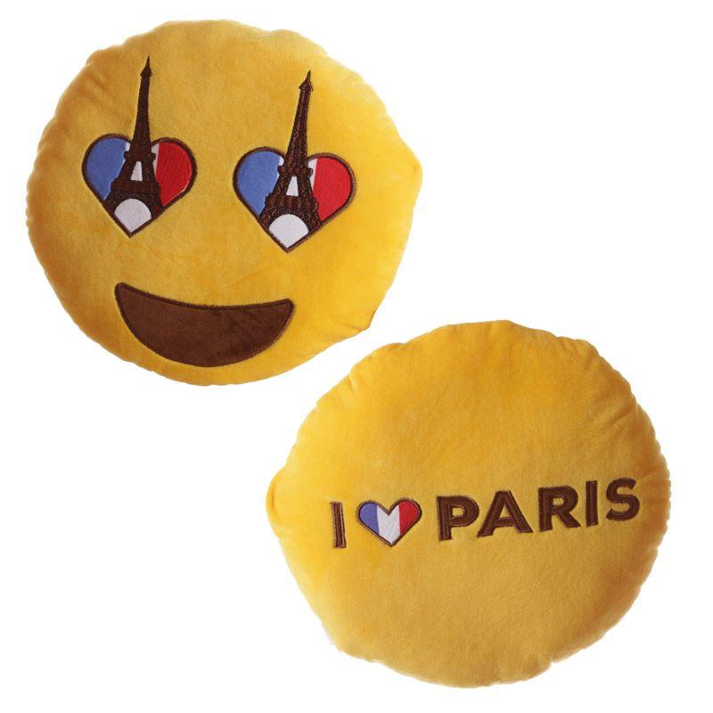 Cojines Emoticono de Francia. Ojos corazón bandera francesa y París ...