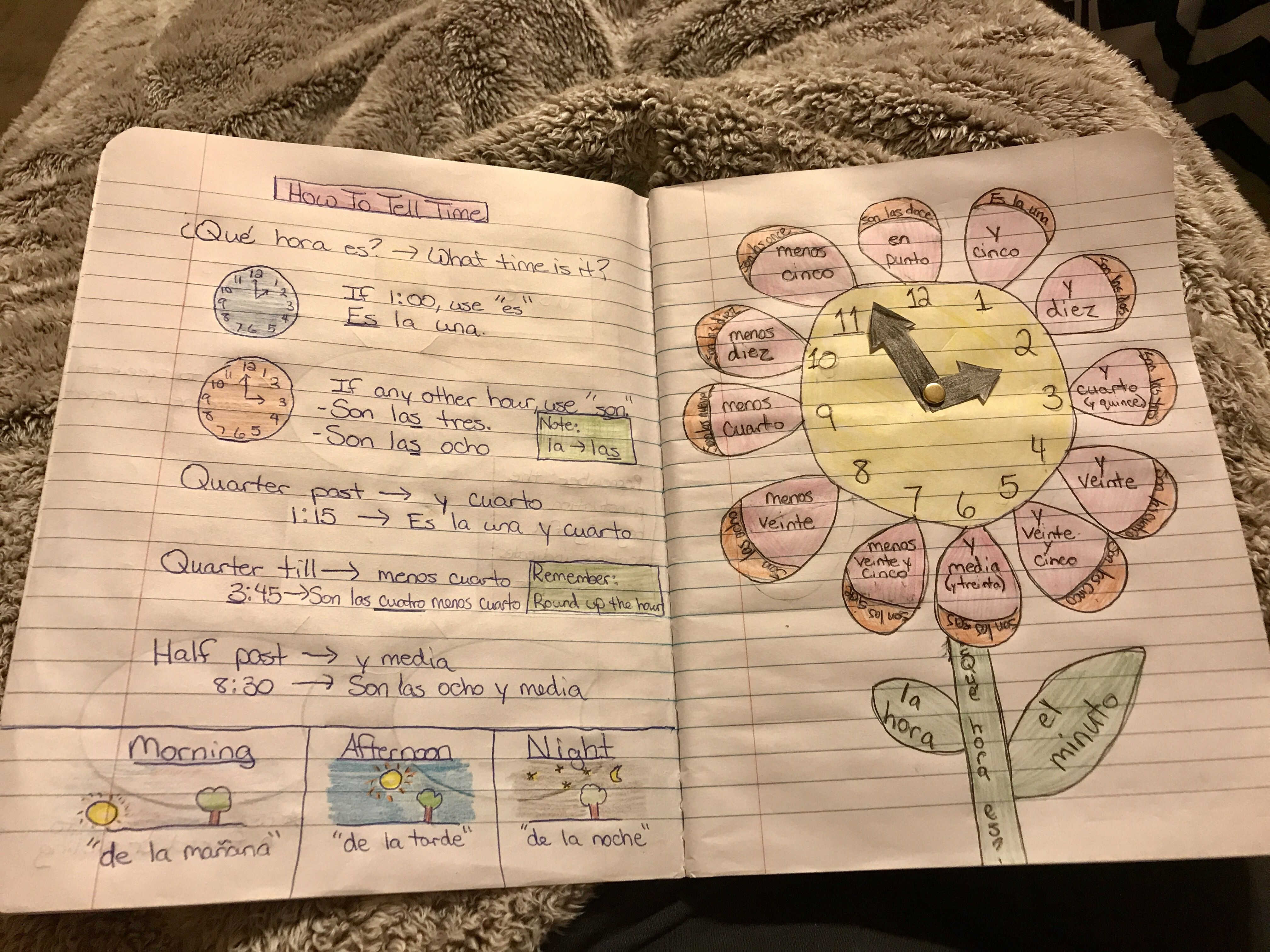 Interactive Notebook Spanish 1 How To Tell Time Flower
