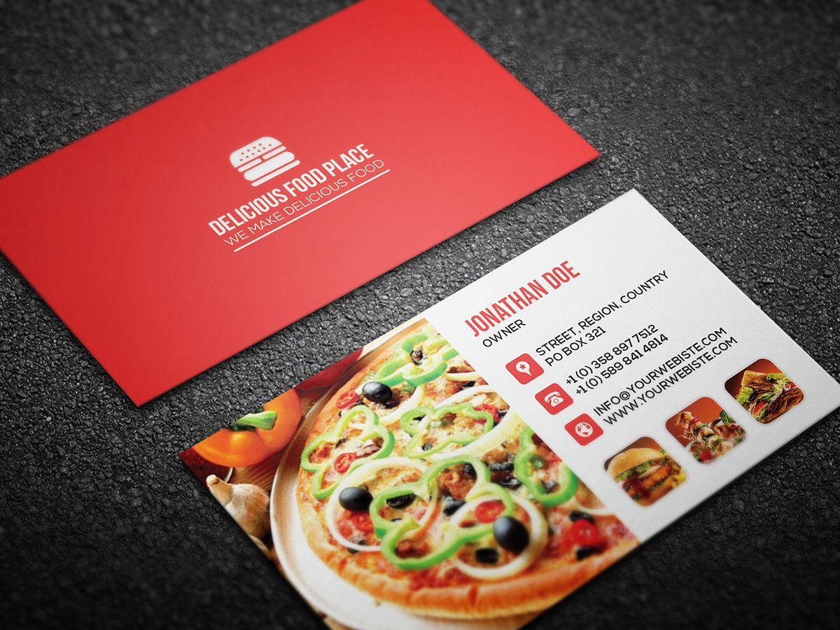 Free Delicious Food Business Card On Behance Within Food Business Cards Templates Free Best Busine Food Business Card Yummy Food Free Business Card Templates