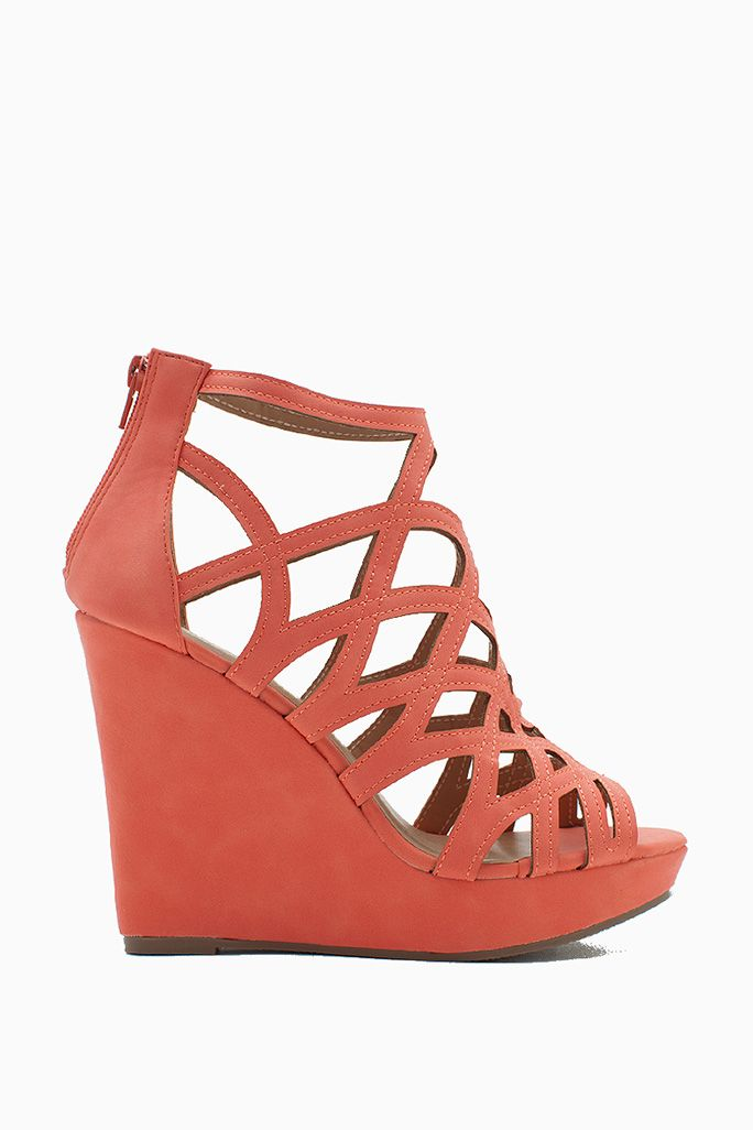 fb9f1c756516 Get all caught up in these caged cuties! Amazing wedges featuring a fun  web-inspired strappy upper. Peep toe. Zippered heel cover.