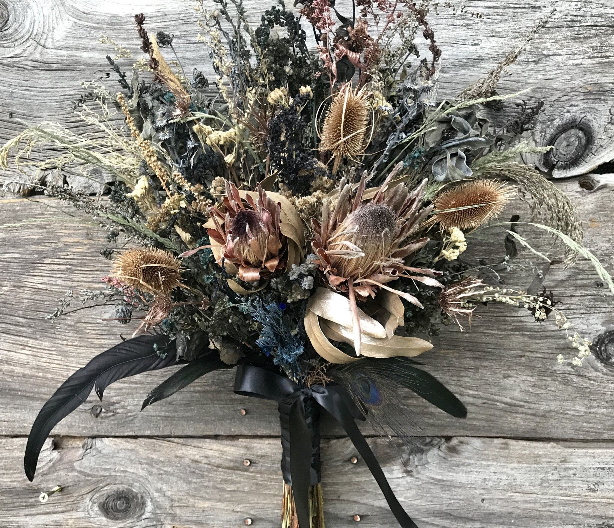 Victorian Protea Wedding Bridal Bouquet Dried Flower Rose Gold Blush Back Navy Blue Peacock Feather Protea Wedding Wedding Bridal Bouquets Dried Flower Bouquet