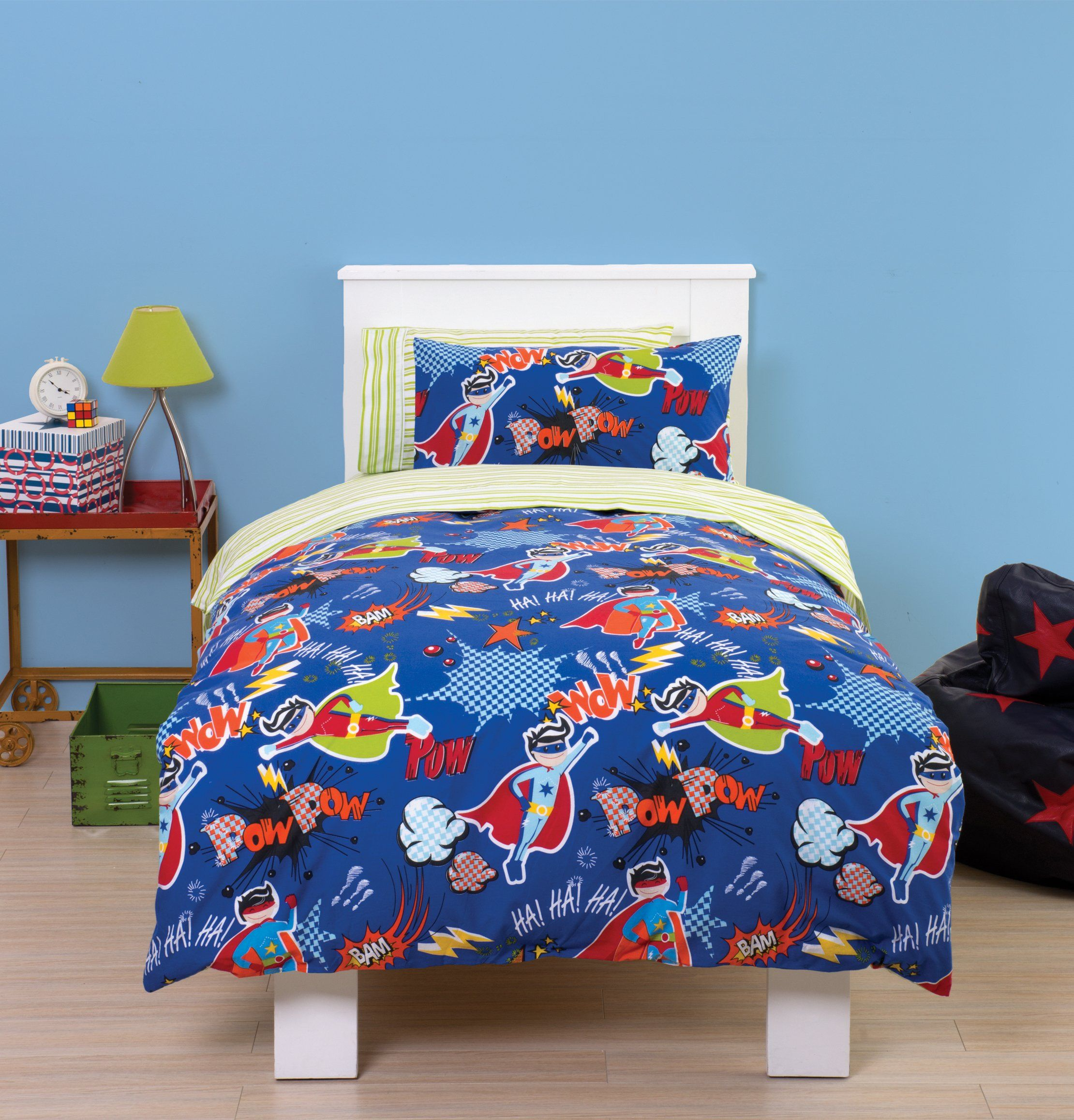 Super Hero Toddler Cot Bed Duvet Bedding Set Pow Wam Bam This