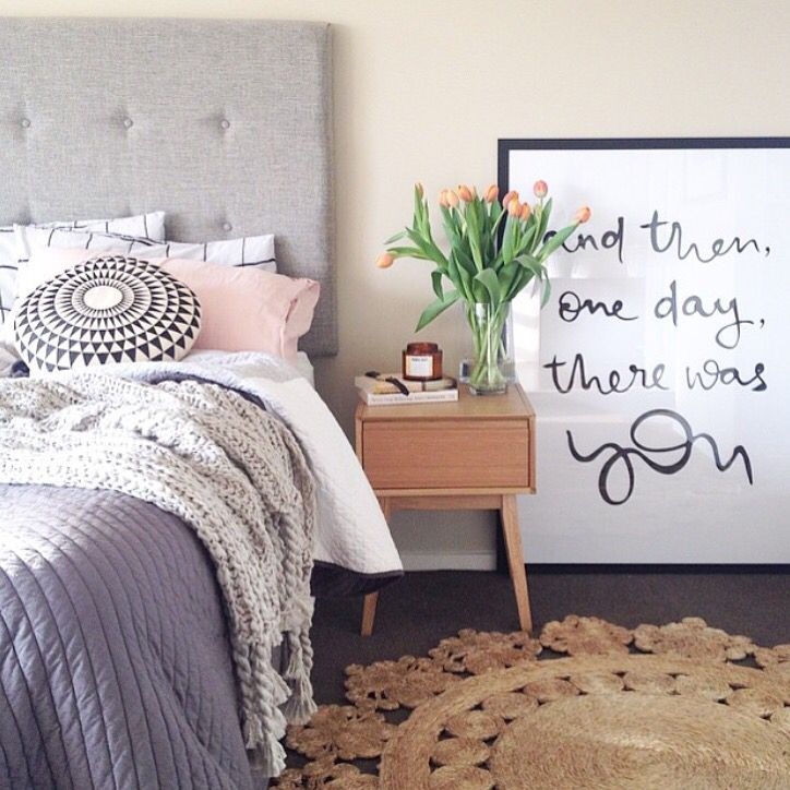 I love the idea of big art next to the nightstand