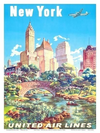 New York  United Air Lines  Gapstow Bridge at Central Park South Pond Manhattan Prints by Joseph Feher at  New York  United Air Lines  Gapstow Bridge at Central Park Sout...