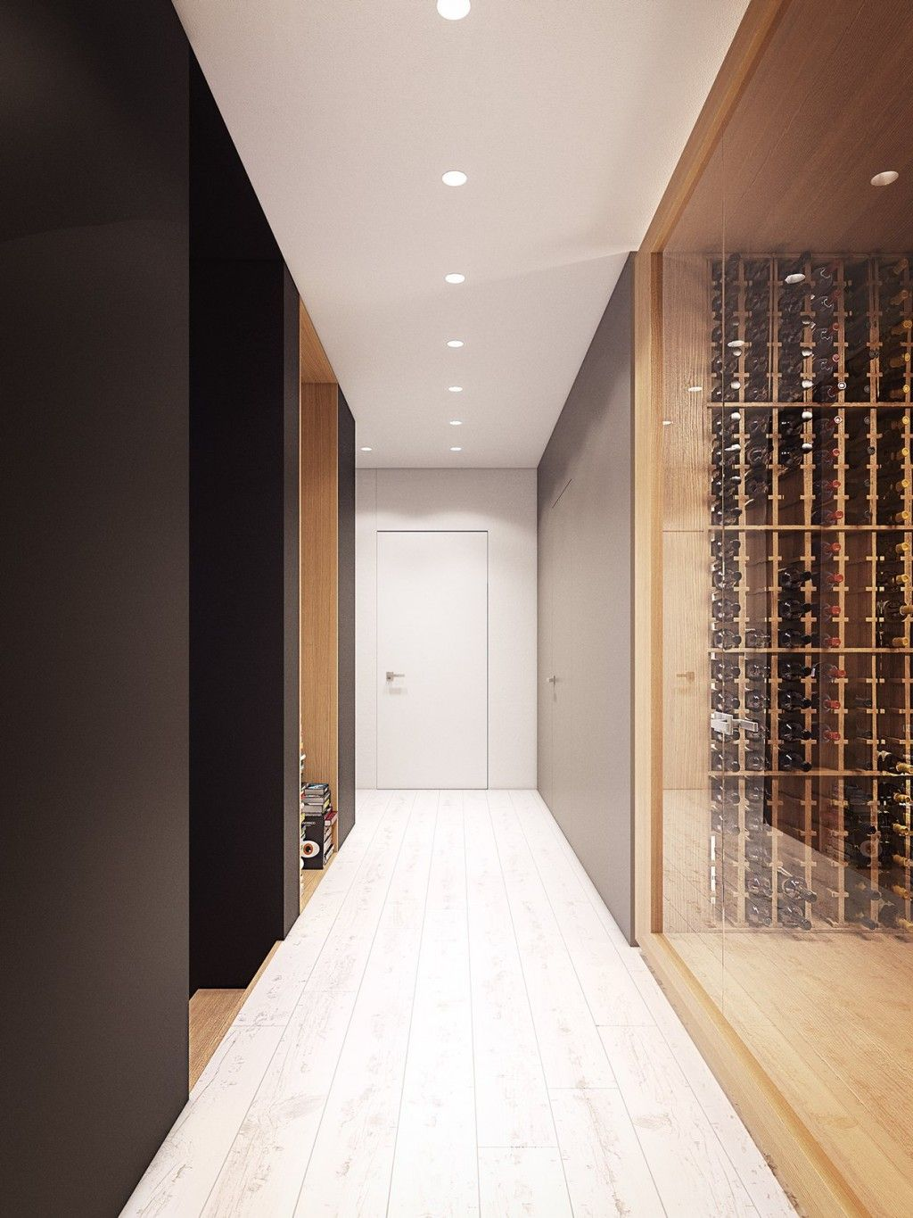 Apartments: Plasterlina Luxurious Entryway Glass Wall Wooden Wine Cabinetry White Wooden Flooring Black Wall Stained: Lofted Opulence