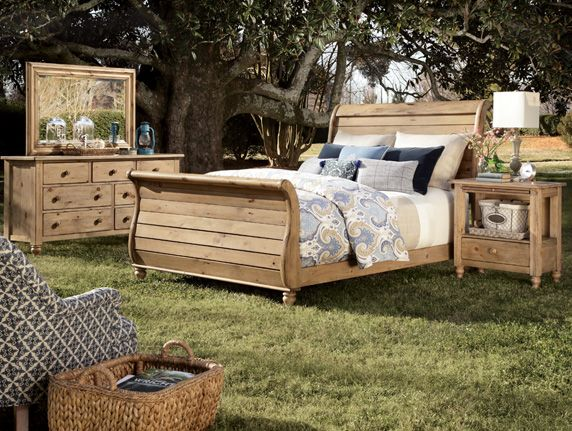 Washed Rustic Pine Creates A Relaxing Comfortable Bedroom Http Stylemeetscomfort Wordpress Com Sleigh Bedroom Set Bedroom Furniture Sets Kincaid Furniture