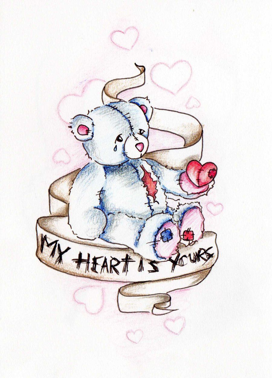 Emo Heart Drawings Emo Broken Hearted Bear By