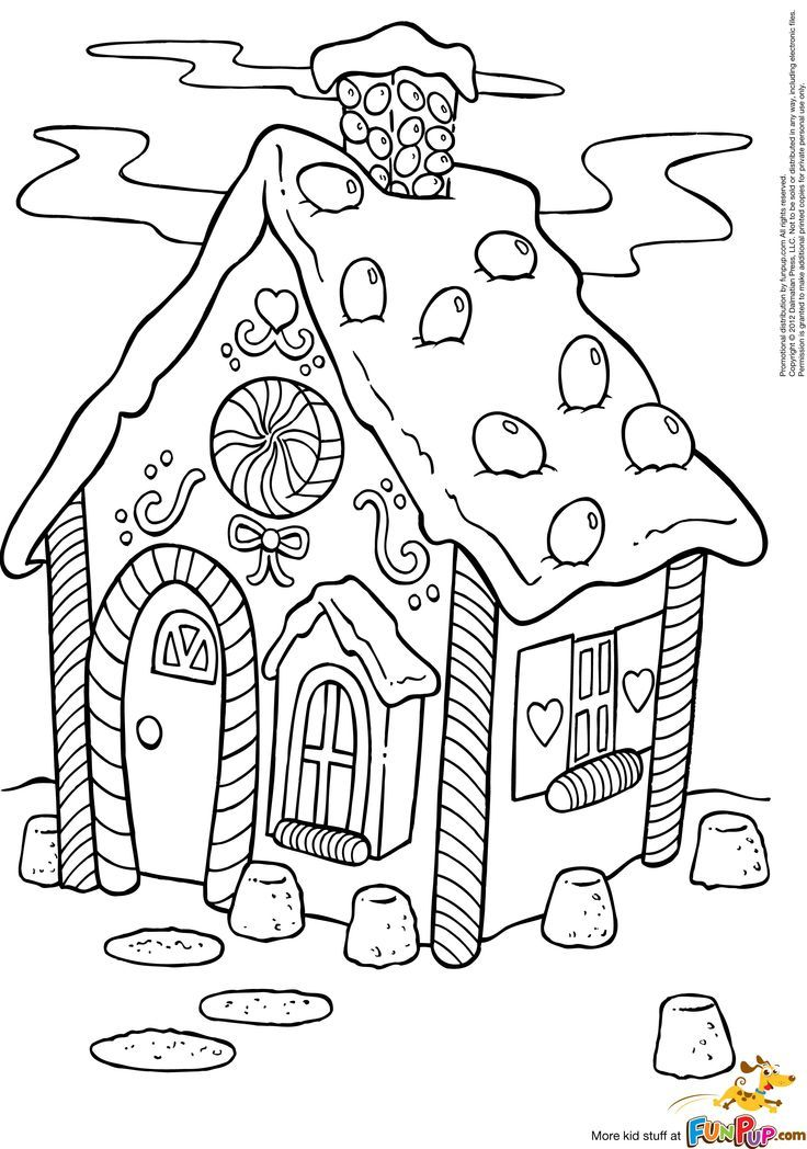 Gingerbread house coloring page Kifestőkönyv