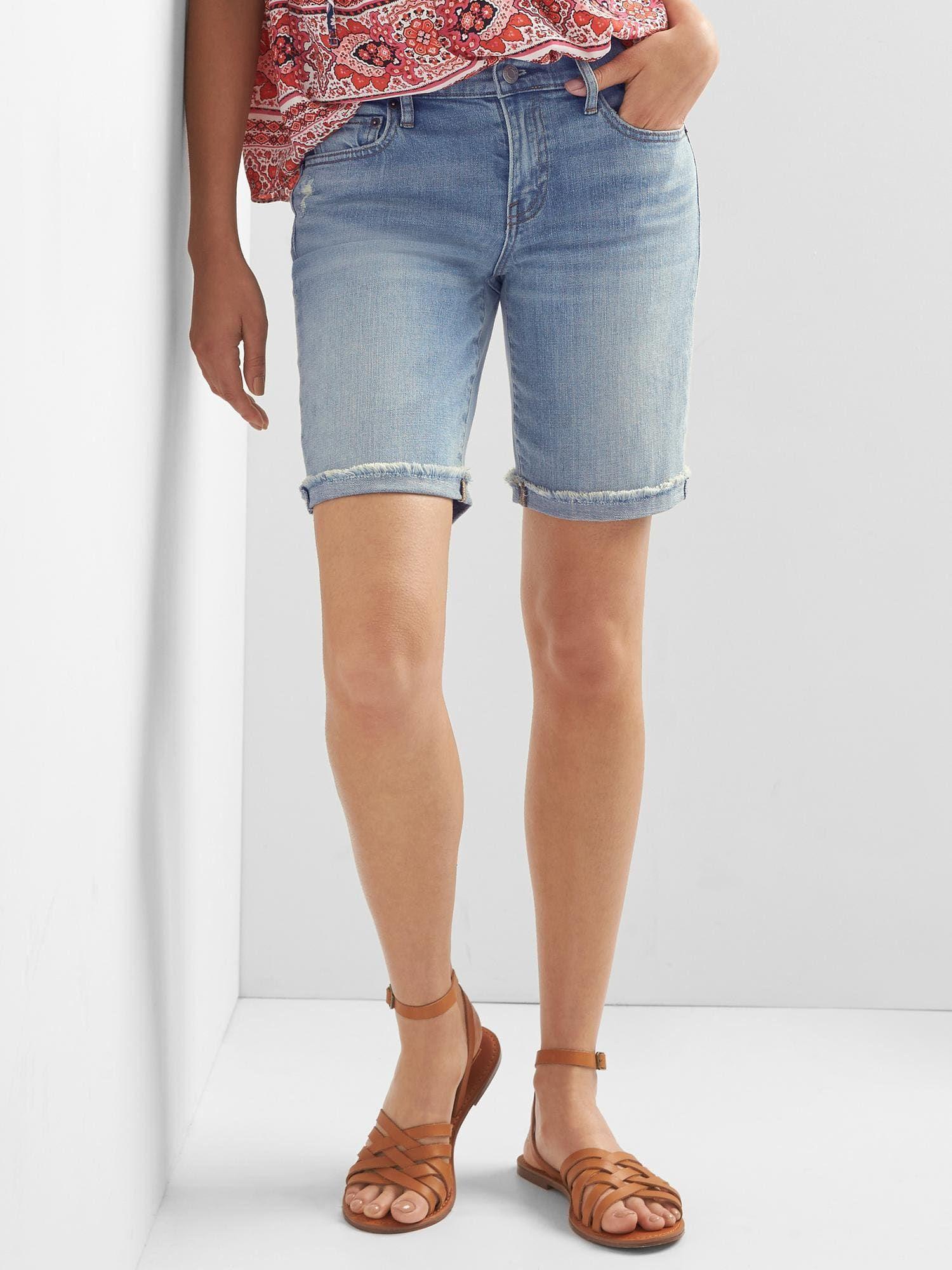 Mid Rise 9 Denim Bermuda Shorts Gap High Waisted Jean Shorts