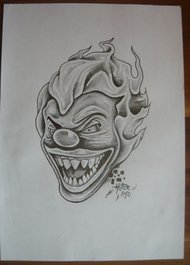 How To Draw A Killer Clown : killer, clown, Clown, Drawing, Scary, Drawing,, Tattoo,, Tattoos