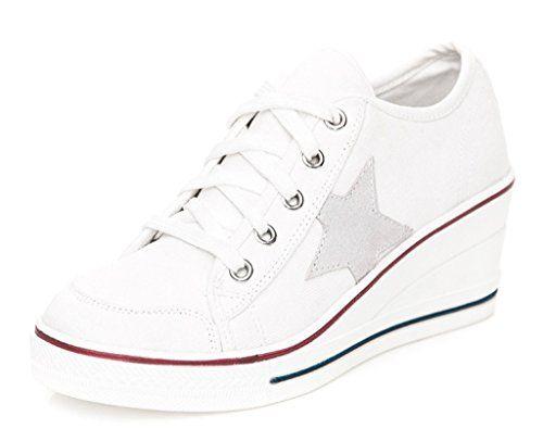 Amazon.com | Jiye Women's Canvas High-Heeled Fashion Sneaker Pump Shoes |  Pumps