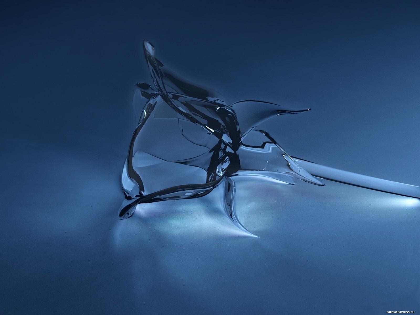 The Glass Flower 3D Dark Blue Drawed Flowers Roses 1600x1200