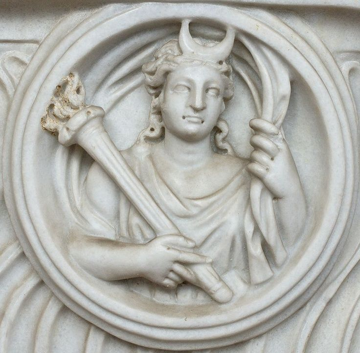 Luna (Greek Selene) Roman relief marble - 3rd century AD, at the Terme di Diocleziano, Rome