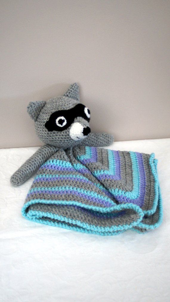 Raccoon crocheted security blanket/lovie by Liz #crochetsecurityblanket