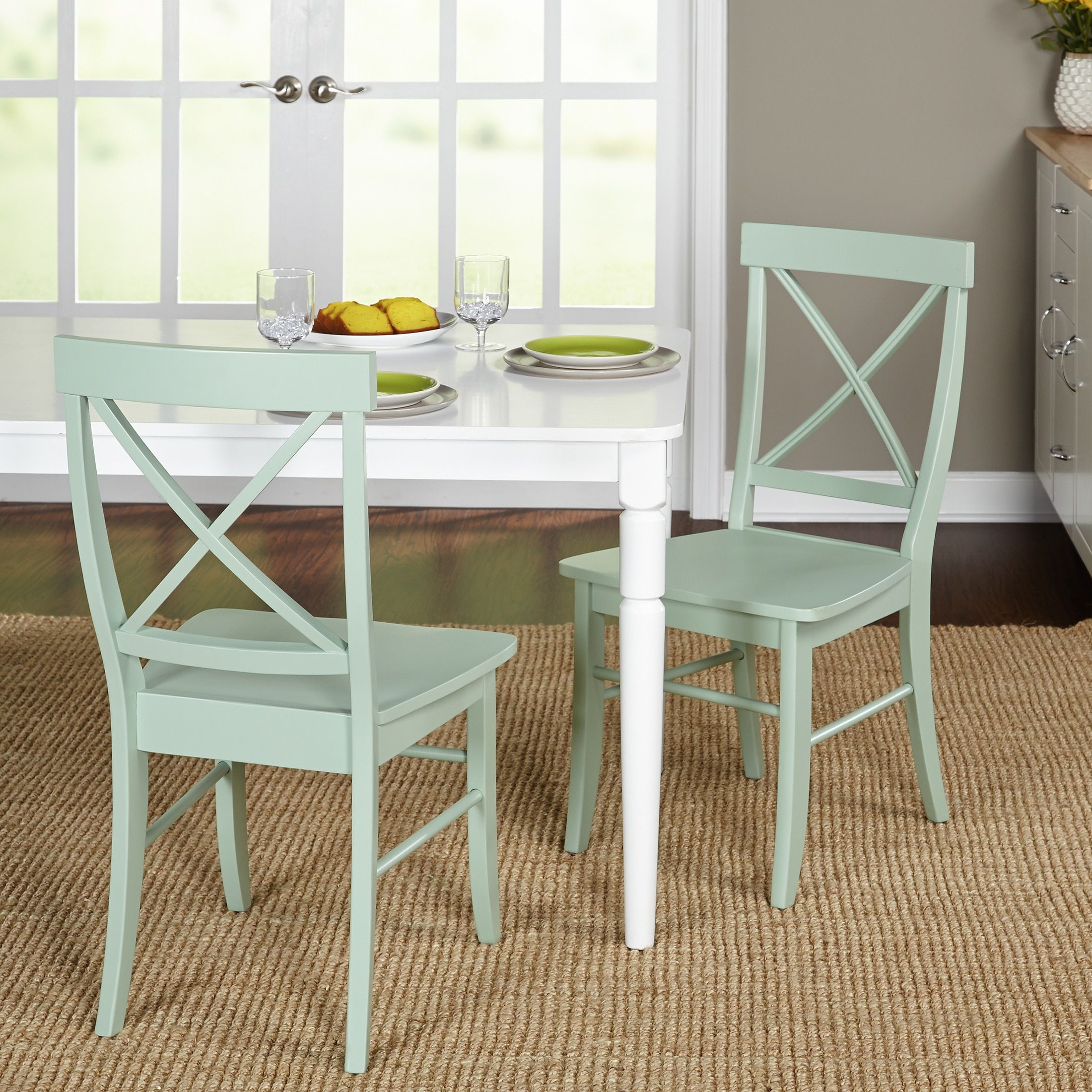 Simple Living Albury Dining Chairs Set Of 2 Mint Green
