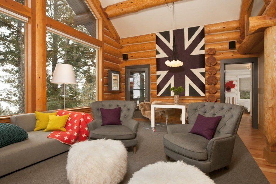 Furniture Log Cabin Decorating Ideas With Grey Sofa And Table Lamp Also  White Pillows As Well