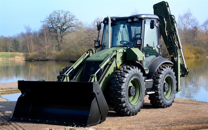 Download wallpapers JCB 4?? Military, New tractors, loader, special machinery, construction machinery, JCB