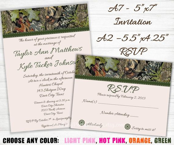 camo wedding invitation and rsvp cards hunting camouflage invites engagement ribbon green pink orange blue printable - Camouflage Wedding Invitations