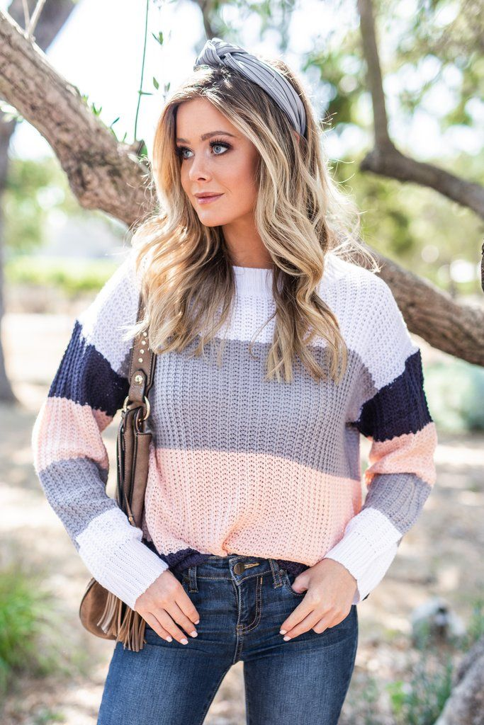 Let's Get Together Peach Multicolored Colorblock Sweater