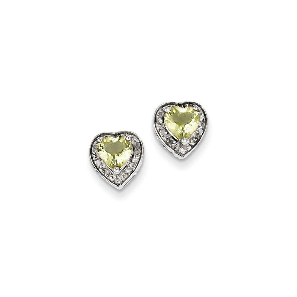 Sterling Silver Diamond & Lemon Quartz Earring