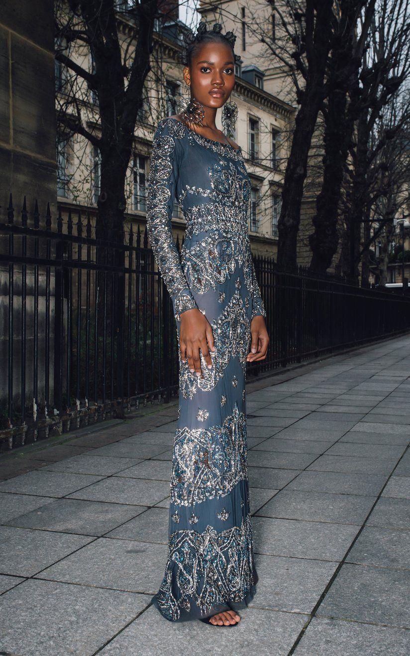 Woven Paisley Gunmetal Gown by Cucculelli Shaheen | Moda Operandi in 2020 | Paisley  dress, Dresses, Tulle dress