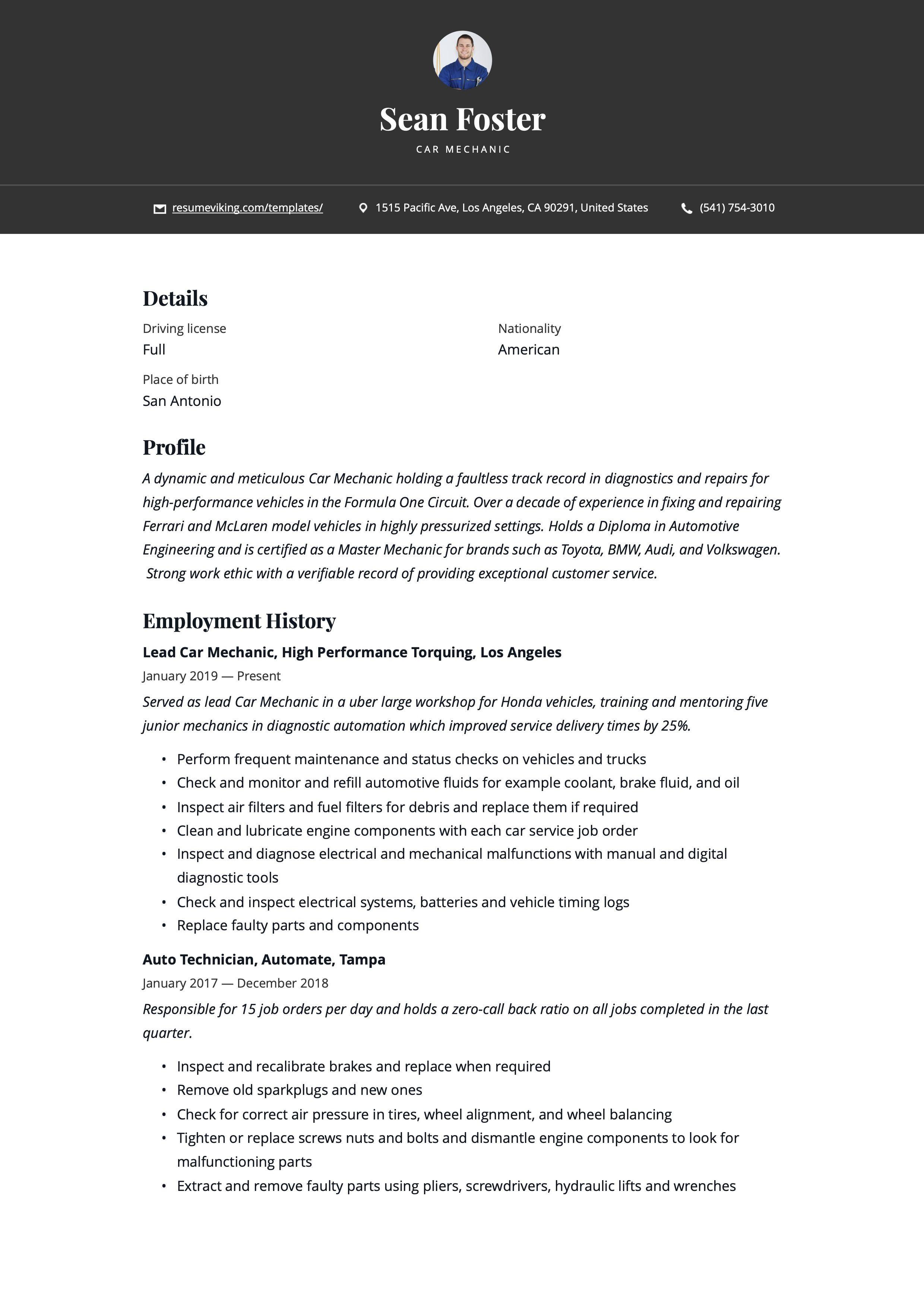 Car mechanic resume template in 2020 resume guide