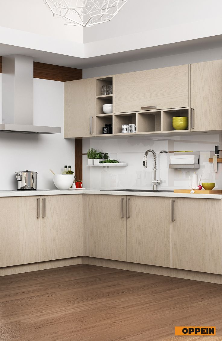 Modern Light Wood Grain Kitchen Cabinet