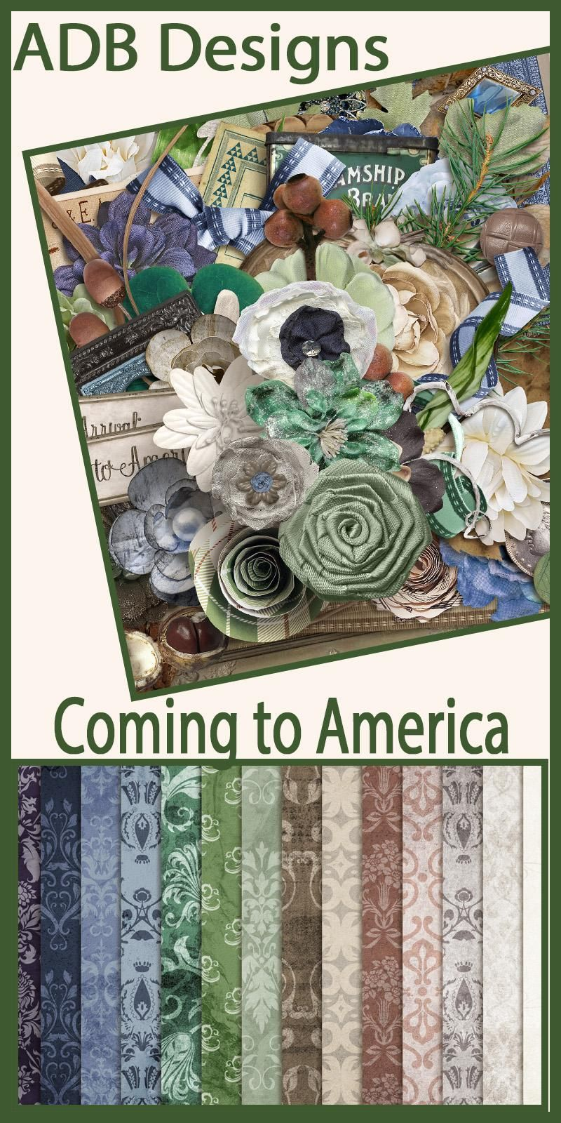 Coming to America celebrates that immigrant history we share. The palette of browns, blues and greens is perfect for scrapping your heritage photos and stories.  #ADBDesigns #digitalscrapbooking #ComingToAmerica  https://adb-designs.com/shop/index.php?main_page=advanced_search_result&search_in_description=1&keyword=ADB-coming-to-america