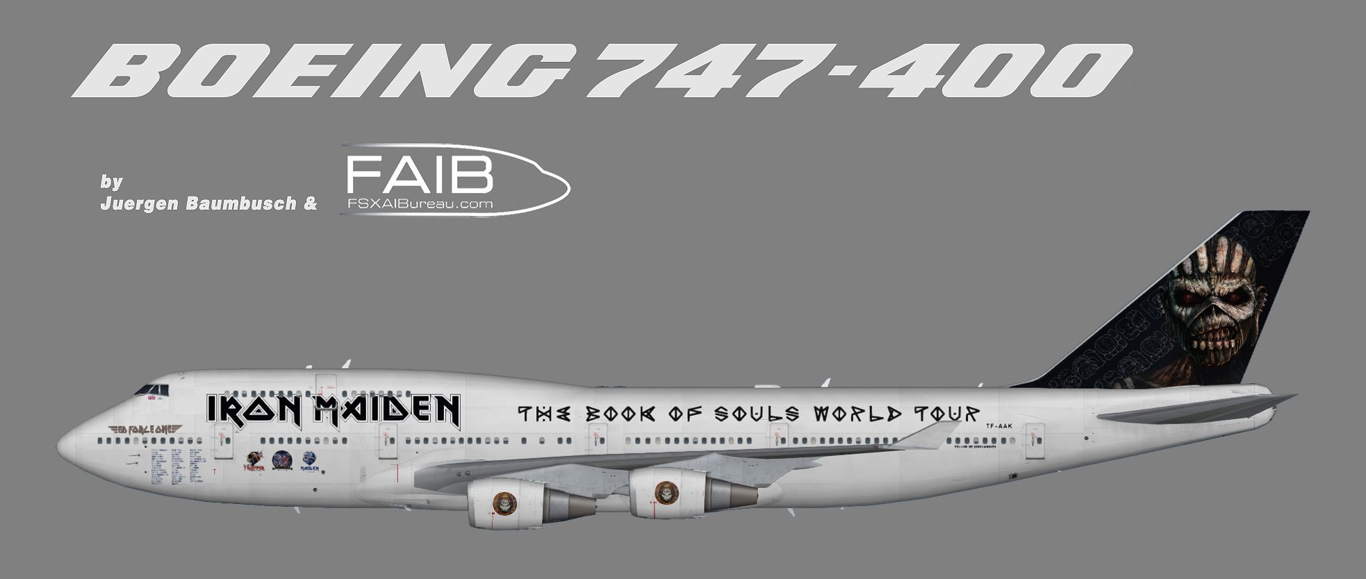 iron maiden's the book of souls world tour. boeing 747-400, opb air