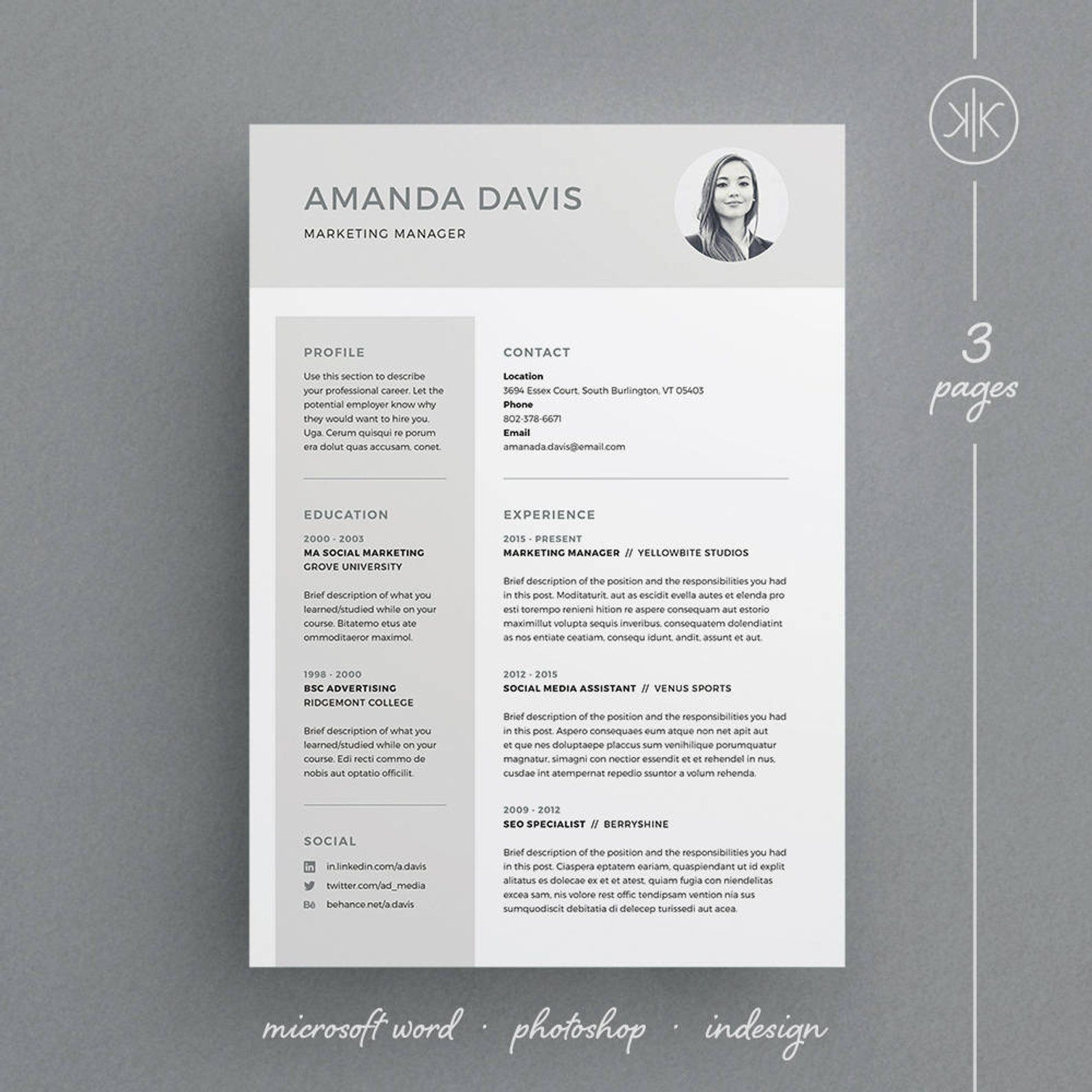Amanda Resume/CV Template | Word | Photoshop | InDesign ...