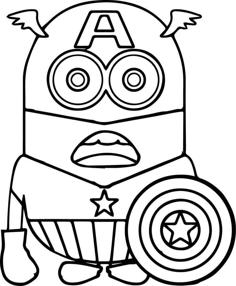 Minion Captain America Coloring Page Minion Coloring Pages