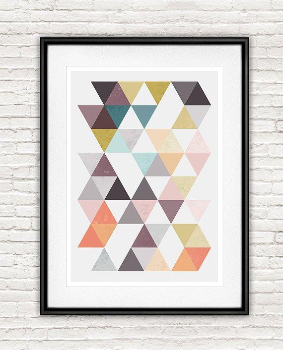 Abstrakte Grafik, Grau Und Rosa, Geoemtric Abstrakt, Wohnzimmer Kunst,  Skandinavisches Design,