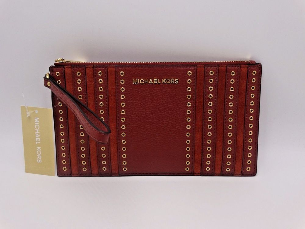 3921f1c2f7c834 MICHAEL KORS LEATHER LARGE MINI GROMMETS ZIP CLUTCH/WRISTLET BRICK $128 # MichaelKors #Clutch
