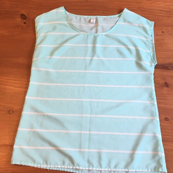 Old Navy Light Blue and White Striped Shirt. Size small. In good condition only worn a few times. Cap sleeved design, made of silky-like material. Old Navy Tops Blouses