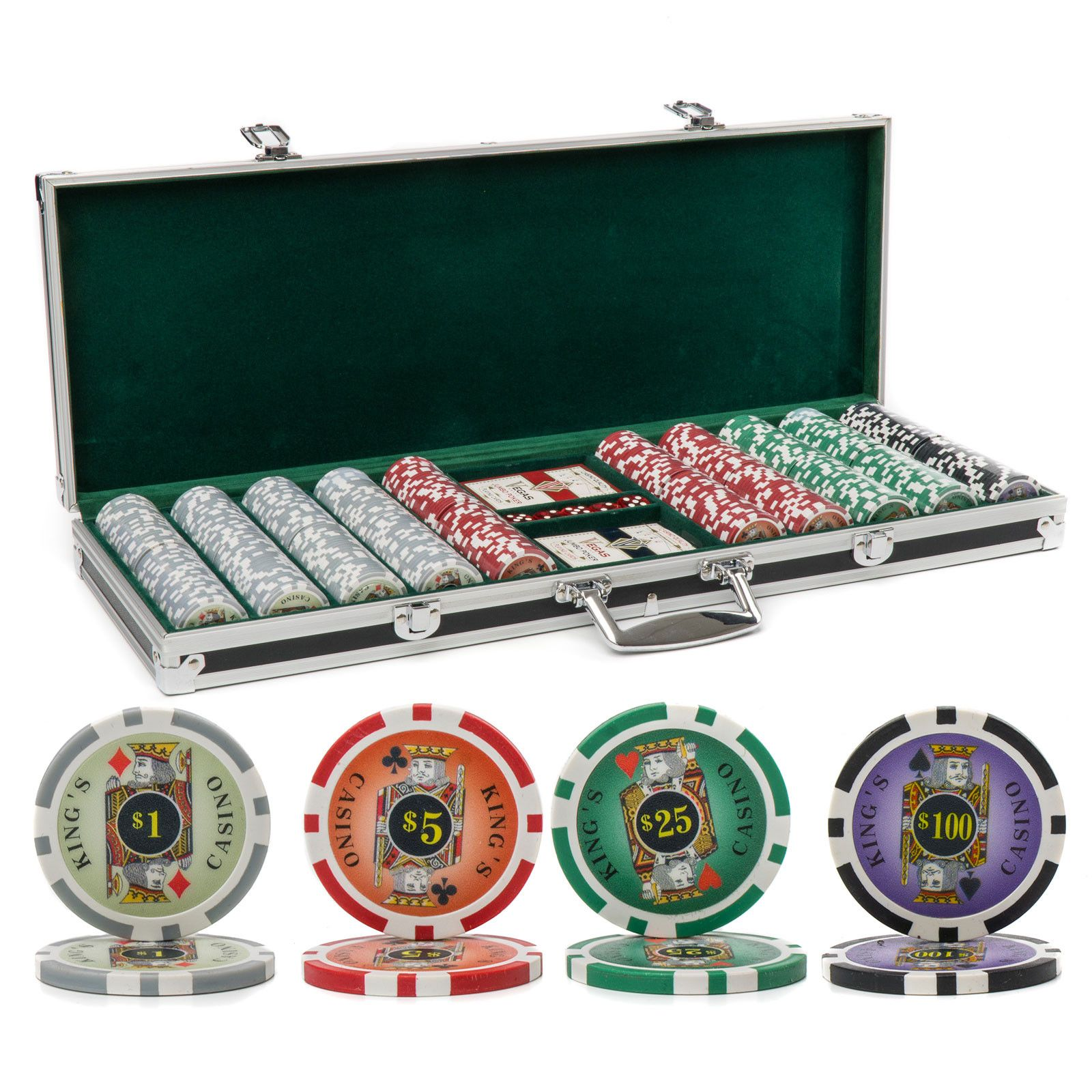 Complete card/chip set with latching carrying case and