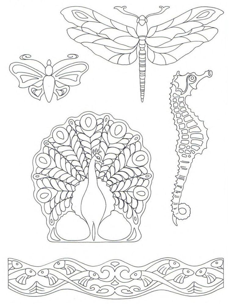 Pfau, Libelle, Schmetterling, Fische - Motive im Jugendstil ...