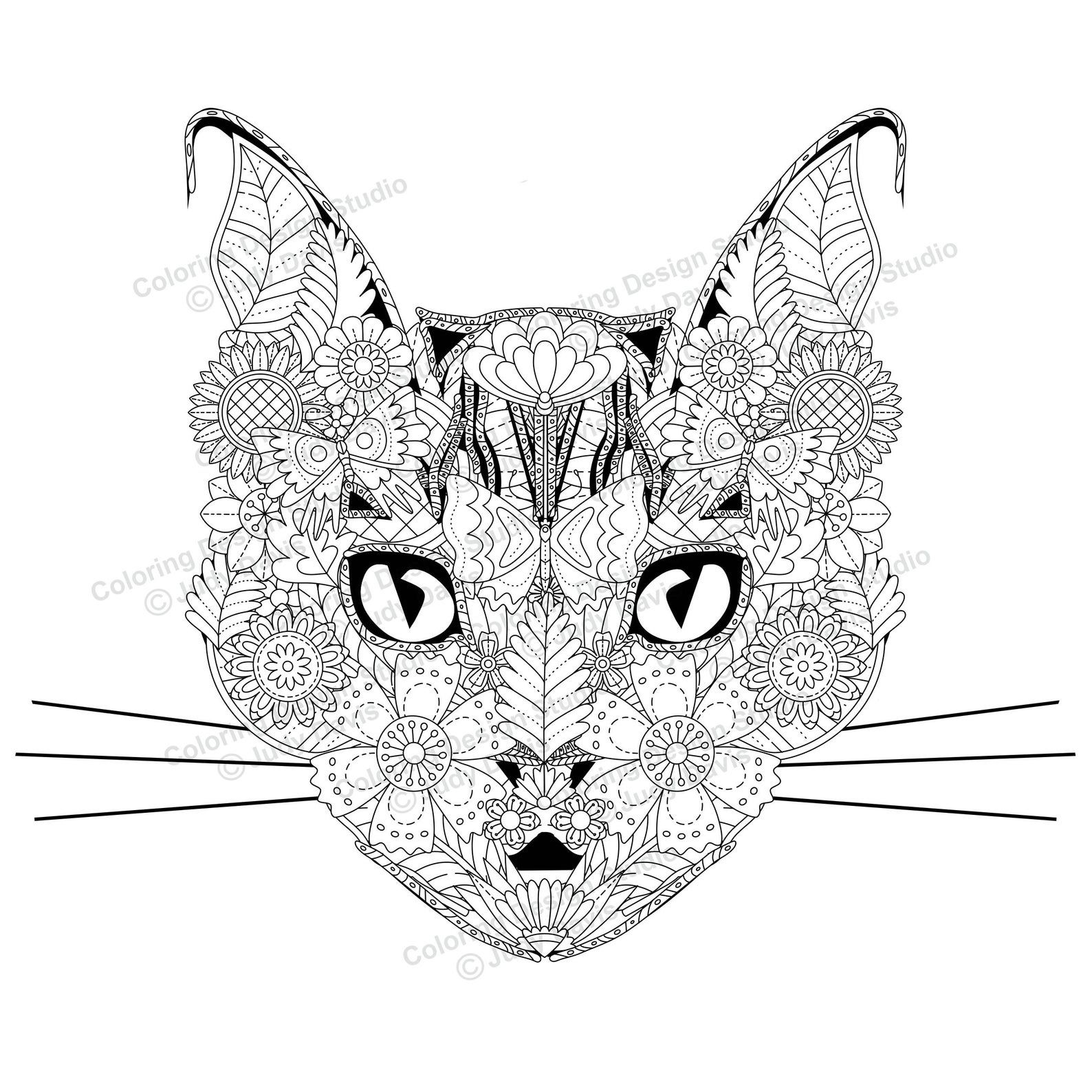 Cat Face Shape Filled With Images To Color Adult Coloring Page